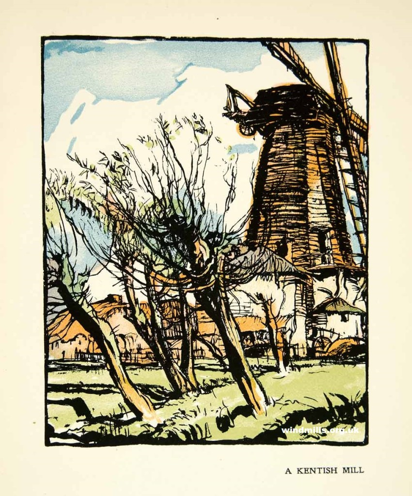 An illustration of a Kent windmill by Brangwyn.