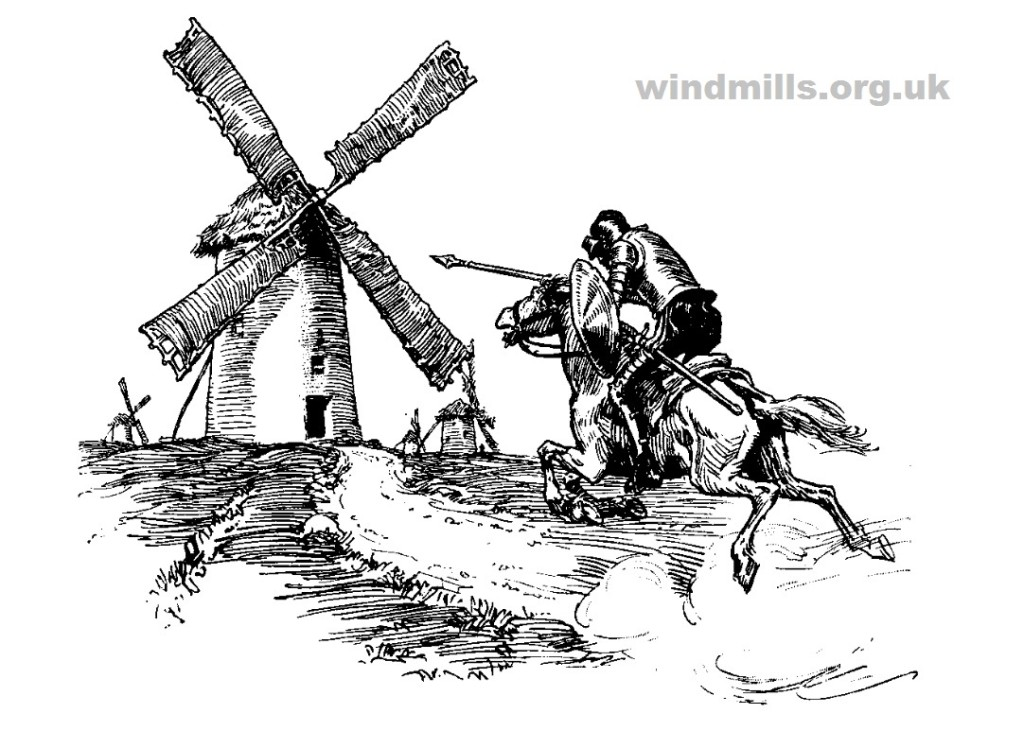 Don Quixote Windmill Colouring Picture