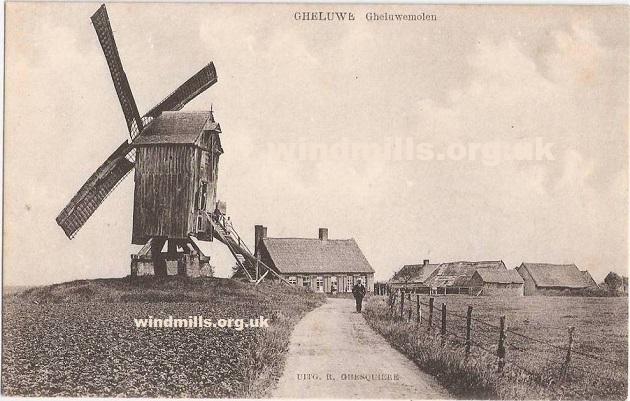 postcard windmill belgium