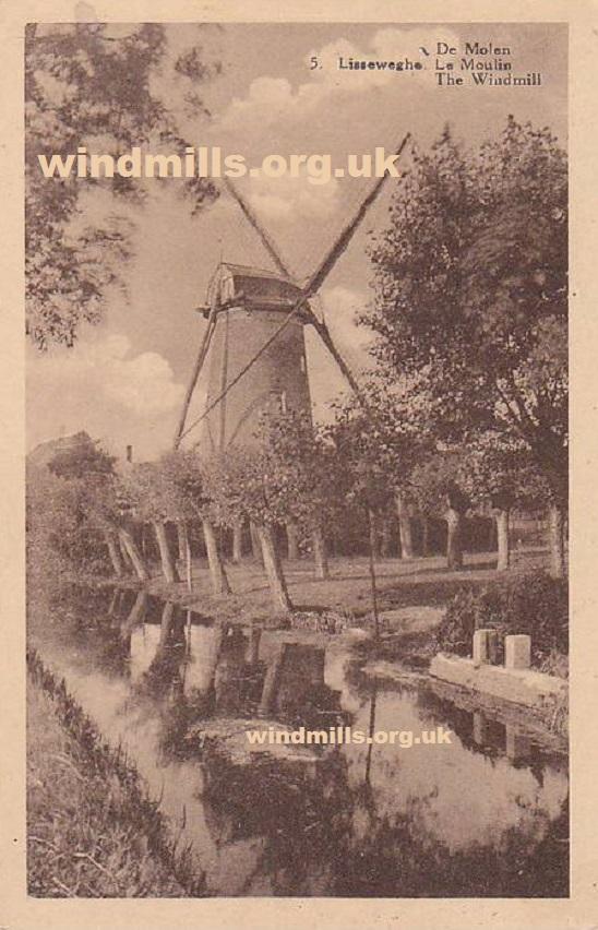 windmill flanders belgium postcard