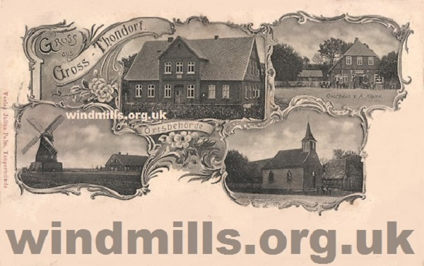 A multiview picture from the 1920s featuring the windmill in the village of Gross Thorndorf, Germany.