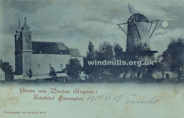 windmill postcard hungary